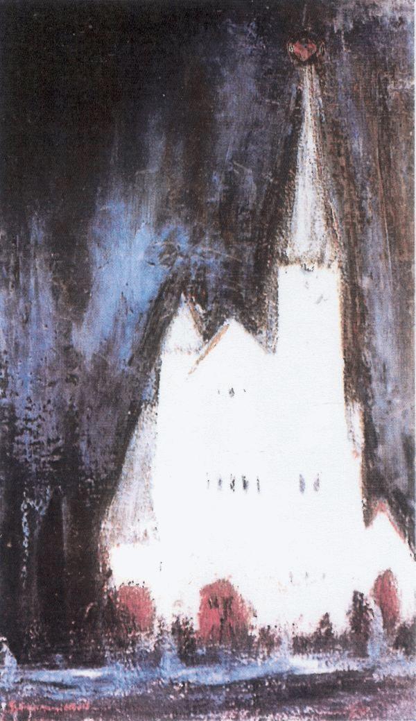 Györkös Mányi Albert: Műemlék (1983, olajvászon)