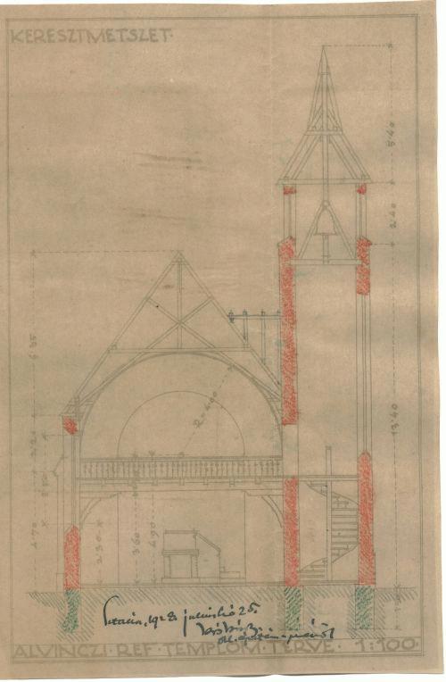 Az alvinci református templom terve, 1928 (keresztmetszet)