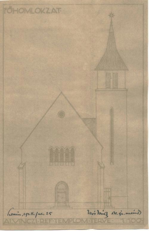 Az alvinci református templom terve, 1928 (főhomlokzat)
