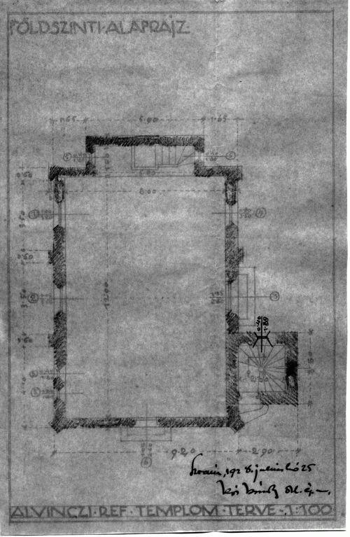 Az alvinci református templom terve, 1928 (földszinti alaprajz)