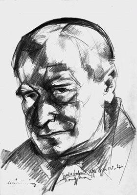 Márton Áron püspök. Nagy Imre grafikája