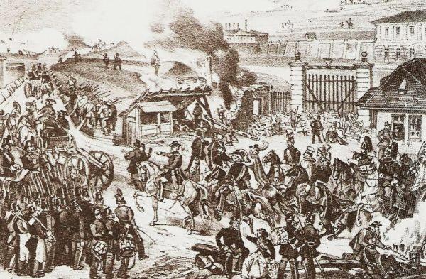 Bem bevonulása 1848. október 25-én a Praterbe.