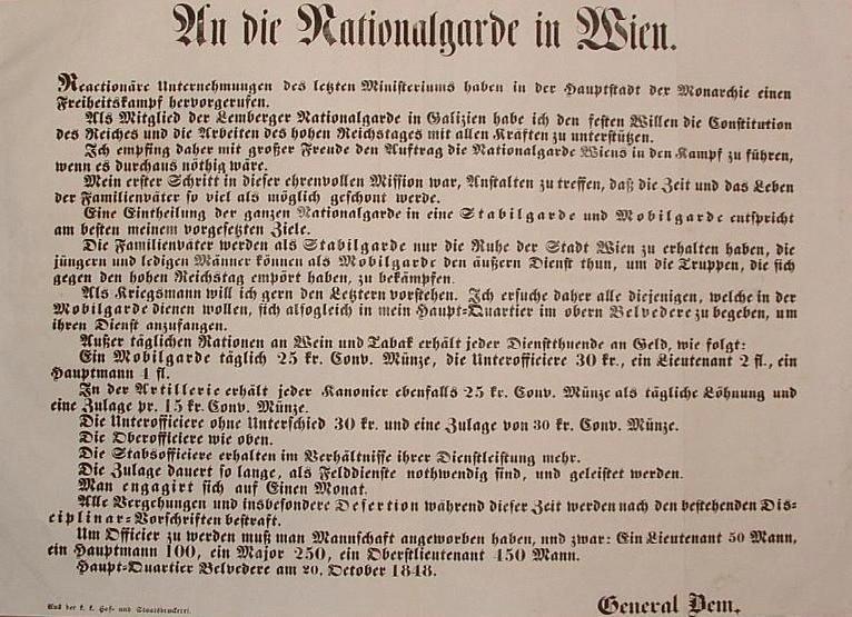 Bem József hirdetménye 1848. október 20-án.