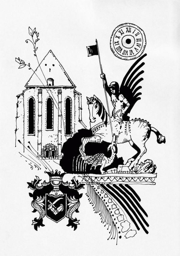 A Farkas utcai református templom, előterében a Szent György-szoborral (a rajzokat a szerző készítette).