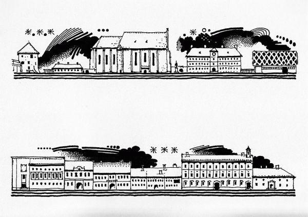 A Farkas utca déli sora keletről nyugat felé haladva: a Szabók bástyája, az egykori Kollégiumi Nyomda, a református templom, a református kollégium kollégium, az Akadémiai Könyvtár