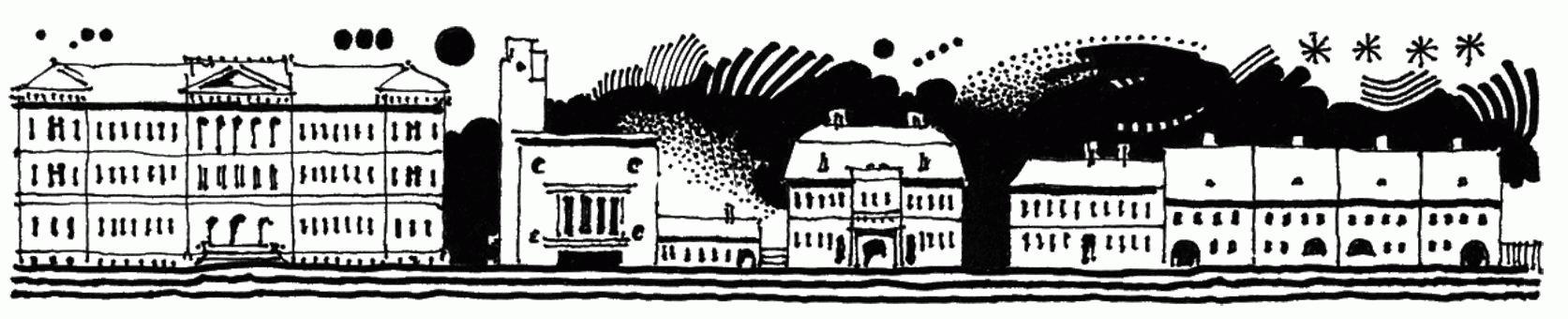 A Farkas utca északi sora sora nyugatról keletre haladva: a tudományegyetem, az Egyetemiek Háza, a Pataki–Tollas ház, a Teleki palota, az egykori református leányiskola, a kollégiumi tanárok házsora